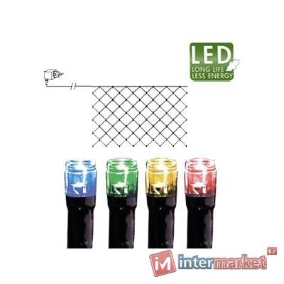 Гирлянда сетка 2х1м разноцветная кабель черный 10м 90диодов LED outdoor