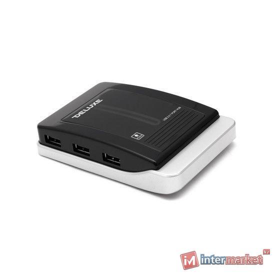 Расширитель USB, Deluxe, DUH7004B, Чёрный
